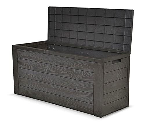 dynamic24 Auflagenbox Holz Optik Gartenbox Gartentruhe Auflagen Kissenbox Gartentruhe