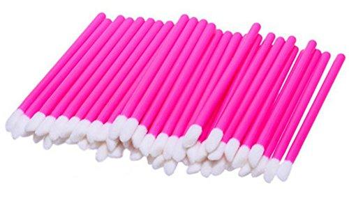 Westeng 50 Pezzi Spazzole Labbra Monouso Bastoncini Pennelli Igiene Pennelli per Trucco Perfetto (Rosa)