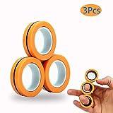 AZEPKS Magnetic Ring Fidget Spinner Toy-Magnetic Bracelet Ring-Fingertip Toys Magnetic-Durable Unzip Toys-Magnetic Game,Decompression Magnetic Magic Ring,Magic Toy, Magnetic Bracelet (Orange)