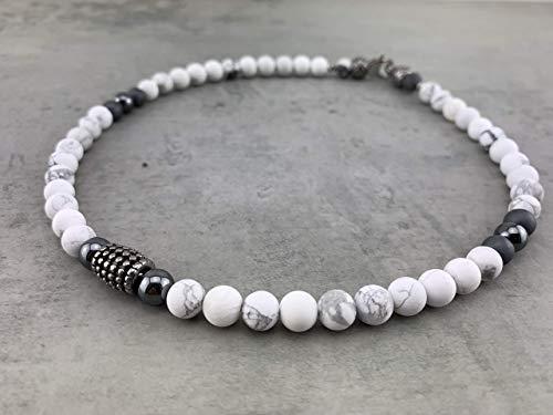 Halskette Kette Perlenkette Designerschmuck Howlith für Herren Männer Damen Frauen Schmuck Biker Surfer Rocker Business-Style weiss Edelstahl K71b