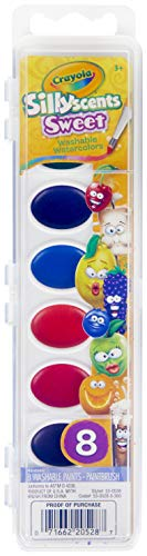 Crayola Silly Scents Watercolors, Sweet Scented Paint for Kids, Gift, 8ct