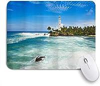 VAMIX マウスパッド 個性的 おしゃれ 柔軟 かわいい ゴム製裏面 ゲーミングマウスパッド PC ノートパソコン オフィス用 デスクマット 滑り止め 耐久性が良い おもしろいパターン (海の景色海の波海辺の風景灯台木)