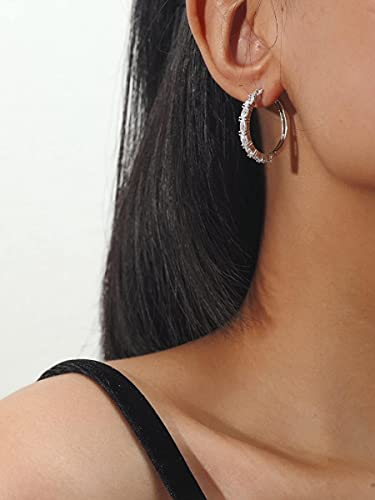 FireH Pendientes Colgantes de Mujer Pendientes Colgantes Decoración de circón Aros de aro (Color : Silver, Tamaño : One-Size)