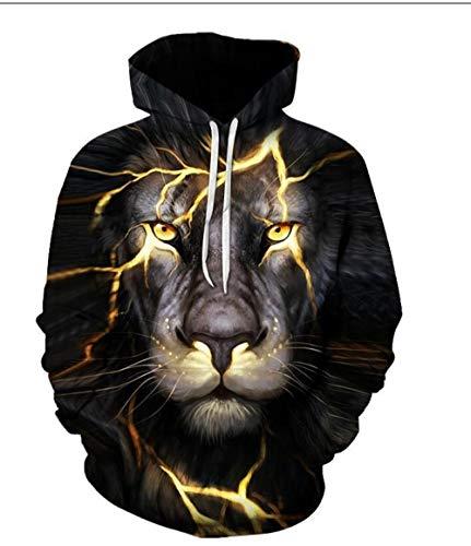 RKWEI Sudaderas con Capucha Animal Lion Pattern Unisex 3D Print Ligero Pullover Sudadera con Capucha Sudaderas...