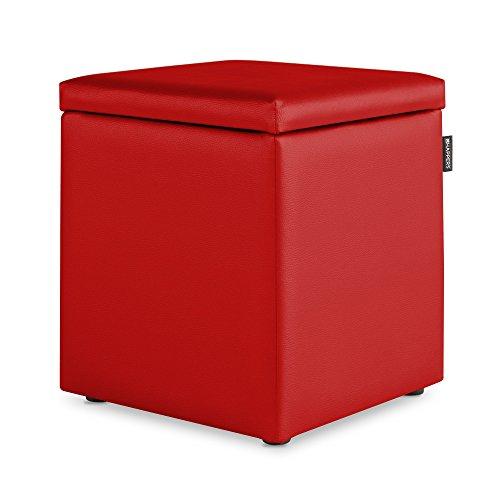 HAPPERS Puff Cubo Arcón Polipiel para Salón o Dormitorio Rojo