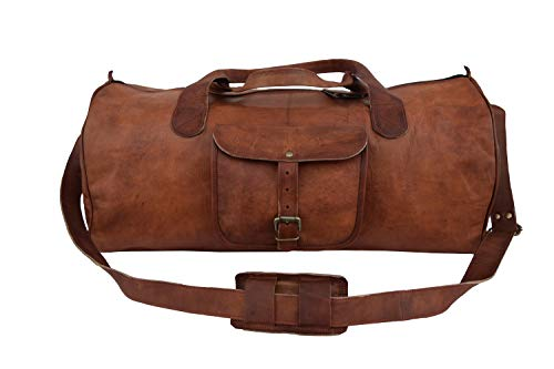 Leather Castle Vintage Men's Duffel Sports Gym Weekend, Travel, Luggage Bag