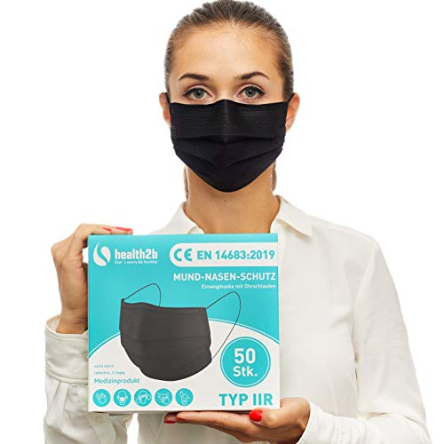 Health2b Mediziniche Mundschutz OP Masken [50 Stück] Schwarz Typ IIR CE Zertifiziert, Mund und Nasenschutz Einweg Gesichtsmaske
