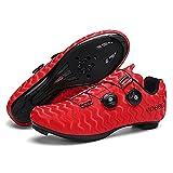 ZHBW Zapatillas De Ciclismo para Hombre Mujer MTB Zapatillas Bicicleta Compatible con Tacos SPD Equitación (Color : Red Road, Tamaño : 43EU)
