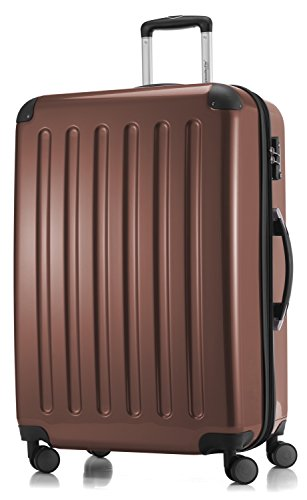 HAUPTSTADTKOFFER - Alex -  4 Doppel-Rollen Großer Hartschalen-Koffer Koffer Trolley Rollkoffer Reisekoffer, TSA, 75 cm, 119 Liter, Braun