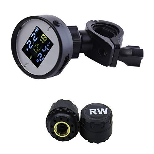 shiqi Motocicleta Tiempo Real TPMS Alarma de Voz Scooter de Seguridad Scooter LCD Monitor de presión de neumáticos con 2 sensores externos Carga USB