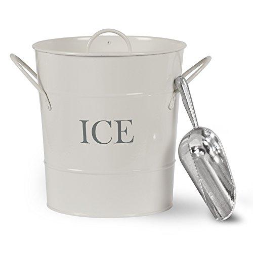 CKB Ltd®, cubo de para servir hielo tradicional de acero, con soporte para pala y asas de transporte, para interiores y exteriores, retro, chic vintage, de color blanco con recubrimiento empol