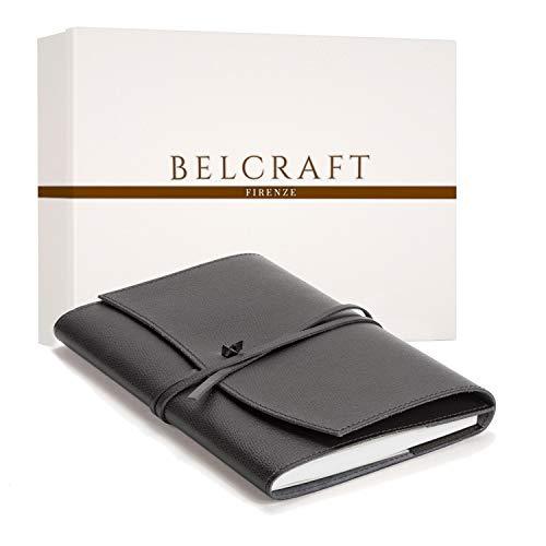 Portofino A5 mittelgroßes Nachfüllbar Notizbuch aus Leder, Handgearbeitet in klassischem Italienischem Stil, Geschenkschachtel inklusive, Tagebuch, Lederbuch A5 (15x21 cm) Schwarz
