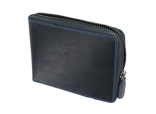 Visconti Portafoglio di pelle ingrasata con zip BULLET Blocco RFID 702 Olio Blu