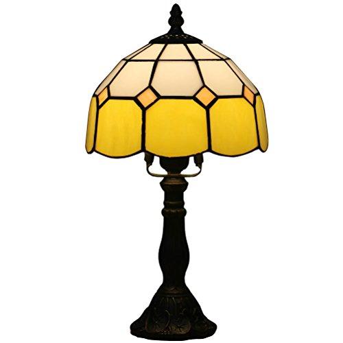 Odziezet 8 pulgadas Tiffany Estilo Amber Lámpara de mesa noche Vintage Pastoral Floral Stained Vidrio Retro Lámpara de Mesita Estudio Dormitorio Lámpara (6 colores para elegir)
