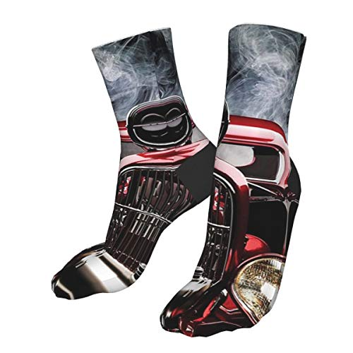 ~ Casual Socks American Hot Rod Roadster with Smoke Background Funny Athletic Socks Best Socks for Women and Men Running Travel