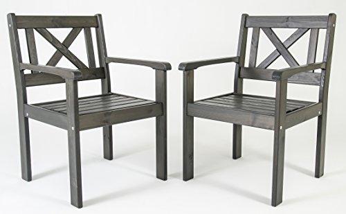 Ambientehome Lot de 2 chaises de Jardin ou terrasse EVJE en Bois Massif, Ton Gris Taupe, 59x64x90 cm
