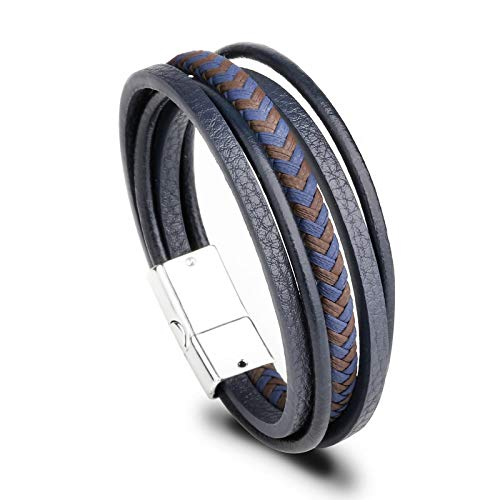 Hand-Woven Multi-Layer Men'S Rope Leather Bracelet, Creative Ethnic Style Simple Magnetic Buckle Bracelet Jewelry Gift, Mixed Color Twist Rope White Buckle