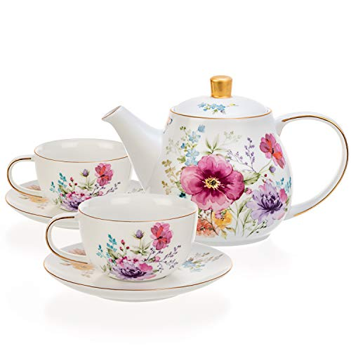 Tealyra - White Porcelain Teapot with 2 Cups and Saucers Set - 34.0-ounce - Real Gold Trim Flower English Modern Style - Bee Style Spout Filter for Loose Leaf Tea