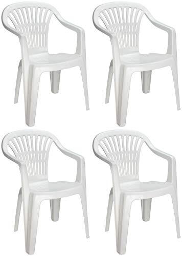 4X Gartenstuhl Bistrostuhl Balkonstuhl Stapelstuhl Stuhl Kunststoff Weiß 0810