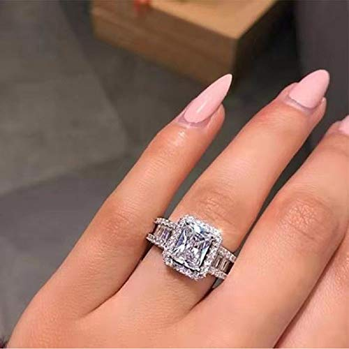 ChenFeng 925 Sterling Silver Perfect Cut Rectangle CZ Engagement Ring...