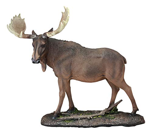 Ebros The Prince Realistic Large Bull Moose in The Forest Statue 19.5' Wide Wildlife Elk Deer Woodlands Decor Figurine