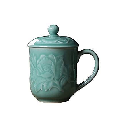 Teacups 13oz Coffee Mugs with Lid Porcelain Cups Embossed with Peony Chinese Celadon(01-Sky Blue)