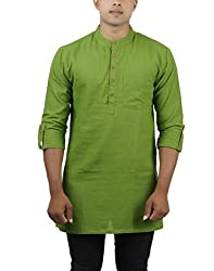 Jay Fashions Mens Solid Cotton Kurta - GREEN