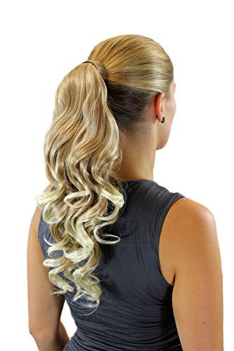 WIG ME UP - Extension natte queue de cheval ondulée légèrement bouclée mélange de blond nouveau système avec peigne et bandeau 45 cm ROSY-27+613