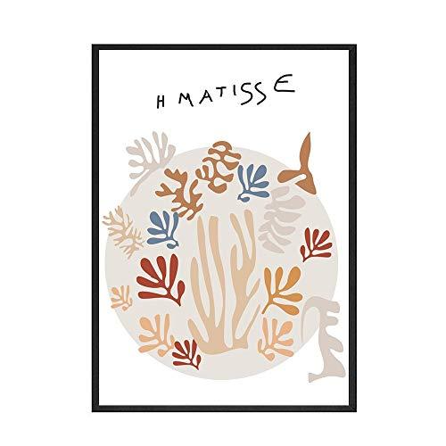 Matisse colorido estilo de hoja personaje abstracto Mural imagen hogar sin marco pintura decorativa en lienzo A3 70x100cm