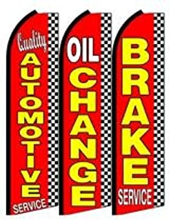 Quality Automotive Service, Oil Change, Brake Service King Swooper Feather Flag Sign- Pack of 3 (Hardware Not Included)