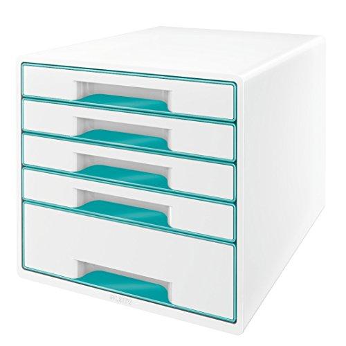 Leitz 52142051 WOW CUBE Schubladenbox, 5 Schubladen, eisblau metallic