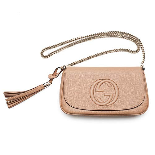 "Includes authenticity cards and Gucci Dust bag. -Made in Italy. Measurements: 11"" x 3.5"" x 6.75"" (lwh) in inches Interior: One Zip pocket, and One slip[ Pocket. Gucci GG Beige Leather with silver chain Strap Drop 21.5 inches"