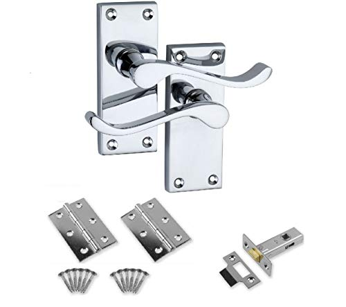 Designer Levers Victorian Scroll Polished Chrome Door Handle Pair with 64mm Tubular Latch & 2x 75mm Hinges - Interior Door Pack Set