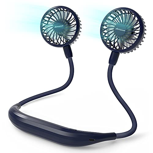 Neck Fan 2600mah Battery Operated Neckband Fan 6-Speed Hand-Free Wearable Personal Fan for Hot Flashes Home Office Travel Outdoor Sports (Navy Blue)