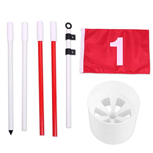 Abcidubxc Portable Golf Flagsticks, Pro 5-Section Putting Green Flags Hole Cup Set Golf Pin