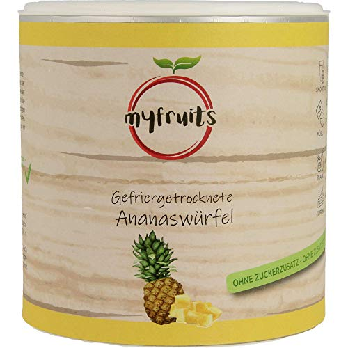 myfruits® Ananaswürfel gefriergetrocknet 100g zu 100% aus Ananas - ohne Zucker - Zusätze - Rohkostqualität