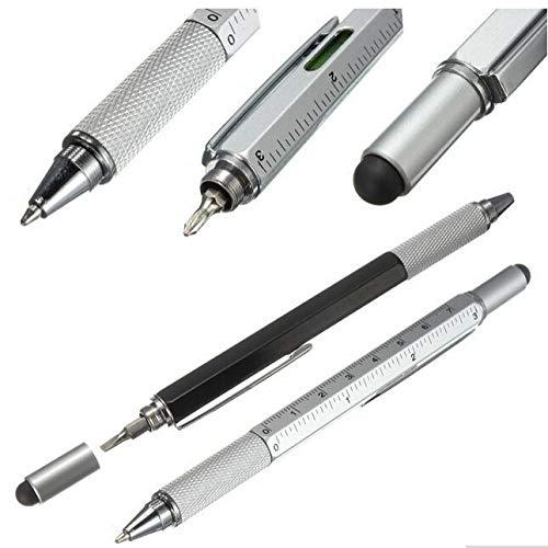 HAOXUE Balpen 1 Stks/partij Nieuwe Aankomst Tool Balpen Schroevendraaier Liniaal Niveau met Een Top en Schaal Multifunctionele Metalen Pen zilverkleurig.