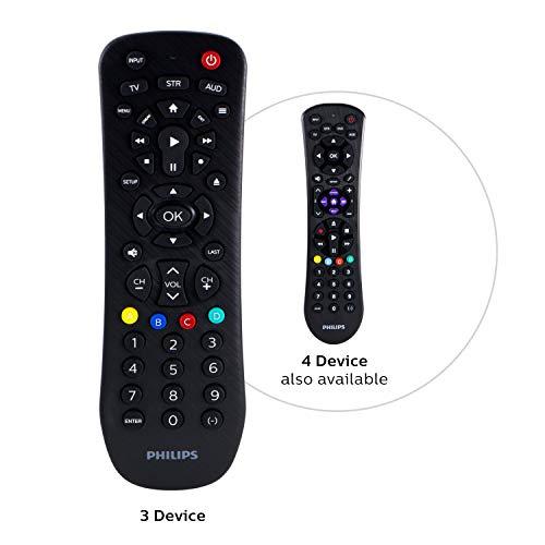 Philips Universal Remote Control for Samsung, Vizio, LG, Sony, Sharp, Roku, Apple TV, RCA, Panasonic, Smart TVs, Streaming Players, Blu-ray, DVD, Simple Setup, 3-Device, Black, SRP9232D/27