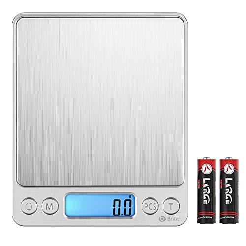 AMIR Balance de Cuisine, Balance de Précision Cuisine, 3kg/0.1g, Balance de Poche de Precision, Écran LCD Rétroéclairé, avec Fonction Tare et Compte, 2 Pallets (Acier Inoxydable&Argent)
