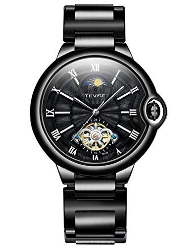 MLHXHX Reloj de hombre de moda impermeable reloj mecánico Star Tourbillon reloj negro 2
