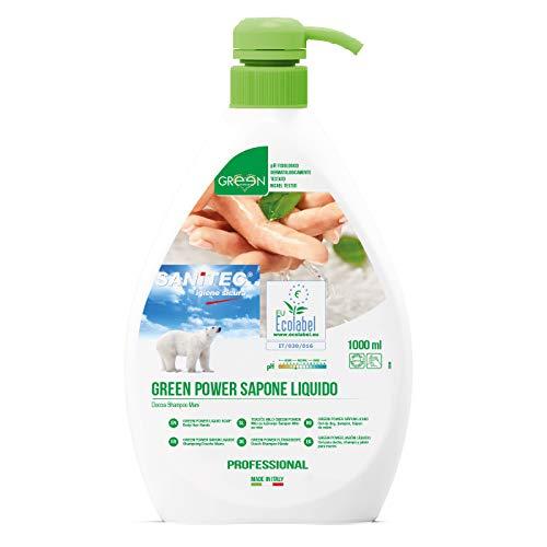Scopri offerta per Sanitec Green Power Sapone Liquido, Ecologico, Corpo e Capelli, Delicato Profumo Floreale, 1000 ml