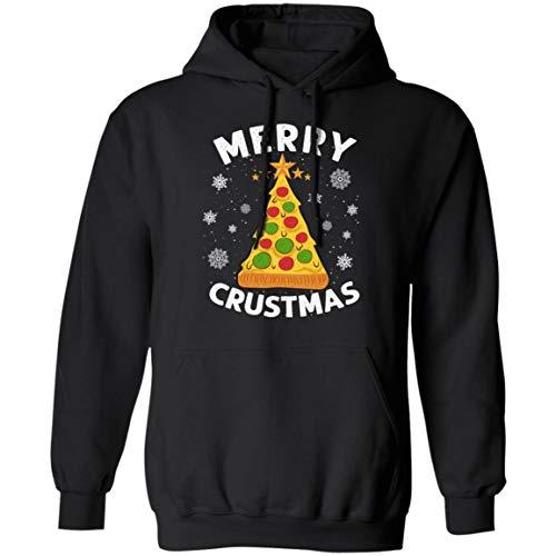 TrueKool Merry Crustmas Crust Pizza Lover Gift Dark Christmas Day 2020 Hoodie - Sweatshirt - Long Sleeve Shirt, 3XL, Hoodie/Black