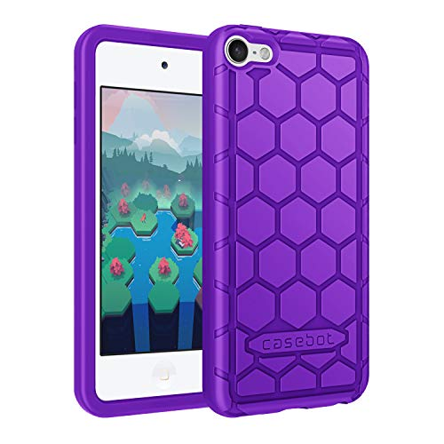 Fintie Silicone Case for iPod Touch 7 iPod Touch 6 iPod Touch 5  Honey Comb Series Impact Shockproof Anti Slip Soft Protective Cover for iPod Touch 7th 6th 5th Purple