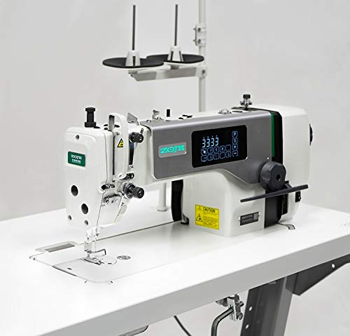 ZOJE Máquina de coser industrial, totalmente automática, lubricación central, máquina de coser industrial, completa (con mesa y estructura), tablero de mesa individual