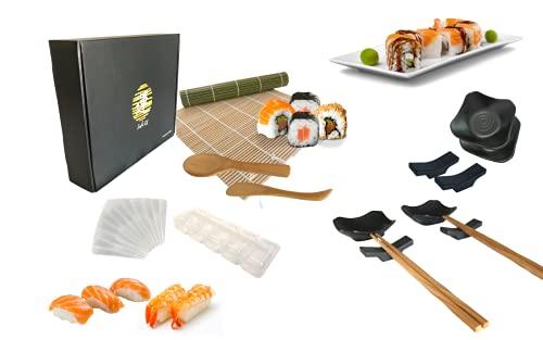 Sushi kit Completo_ Set sushi giapponese per 4 persone (18 pezzi), stuoia sushi in bambu, 4 bacchette, 4 ciotoline salsa, 4 poggia bacchette, stampi per nigiri, uramaki, hosomaki e temaki fai da te