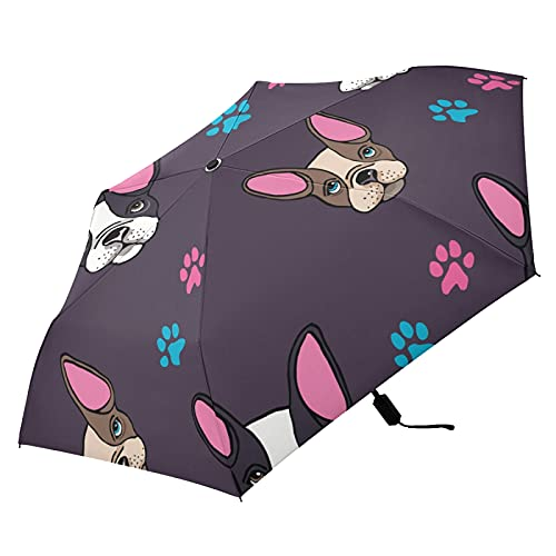 Oyihfvs French Bulldog Heads Puppies Dogs Colorful Folding Umbrella, Strong Lightweight Travel Rain Umbrella, Portable Compact Sun Parasol with UV Protection