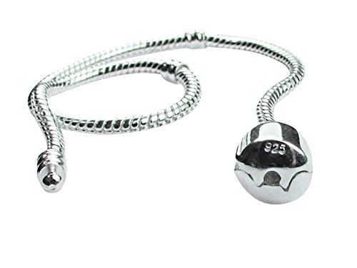 Beads R Us  - 19cm Sterling Silver Snap Clasp Snake Chain Charm Bracelet, Compatible with all well known European Style Beads, Charms, Clips and Stoppers including Pandora.