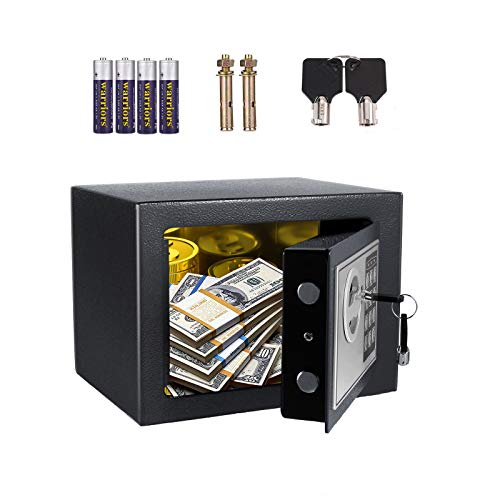 AOLIER Safe box, Safe and Lock Box, Money Box, Digital Keypad Safe Box for Cash Jewelry Passport Gun Security, Wall or Cabinet Anchoring Design for Home Office Hotel, 0.28 Cubic Feet