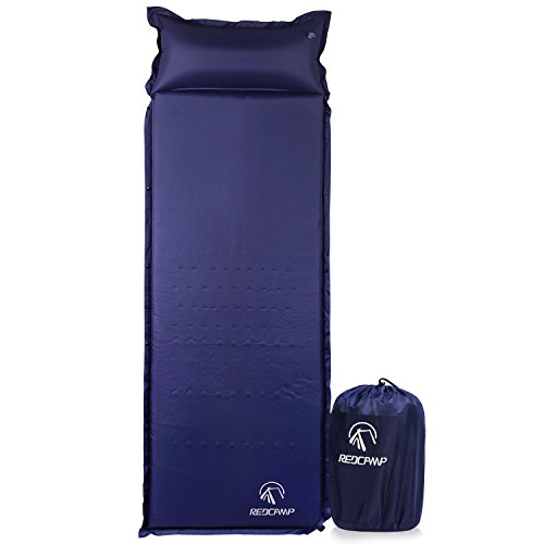 REDCAMP Self-Inflating Sleeping Pad with Attached Pillow, Compact Lightweight Camping Air Mattress with Quick Flow Value, Blue 77