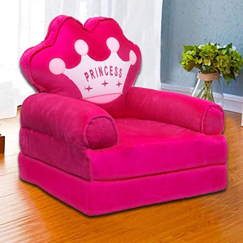 AWSM COLLECTION Kids Fiber Foldable Cartoon Princess Sofa Cum Bed Small Baby Sofa Chair for Room Decoration Gift Purpose (0-2 Years)-Pink